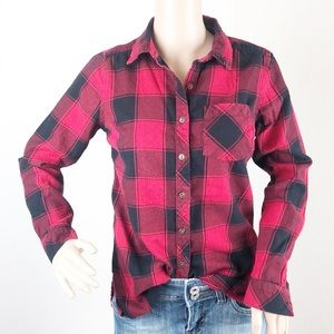 Sonoma red and black plaid button down shirt